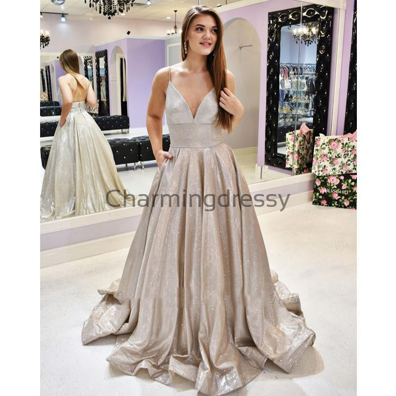 Spaghetti Straps V-neck A-line Metallic Long Prom Dresses, Trendy Evening Dresses PD2247