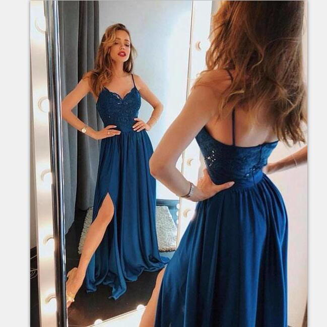 Spaghetti Straps Lace A-line Dark Blue Cheap Unique Prom Dresses, evening dress , PD0914