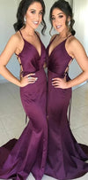 Spaghetti Straps Long Purple Open Back Mermaid Modest Bridesmaid Dresses, WG391