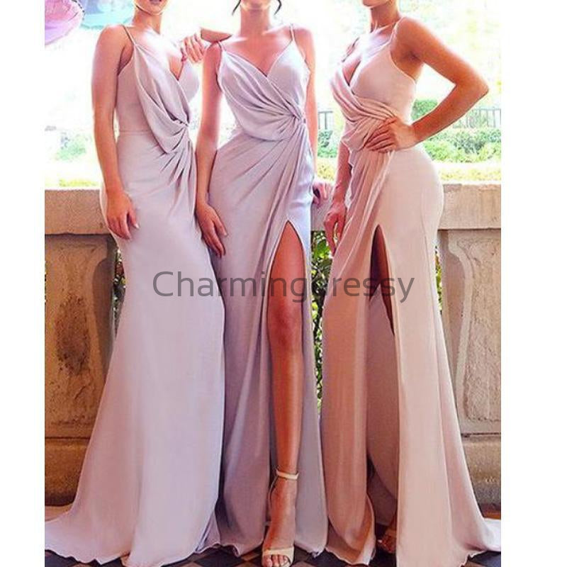 Spaghetti Straps Neckline Floor-length Sheath Bridesmaid Dresses With Slit WG670