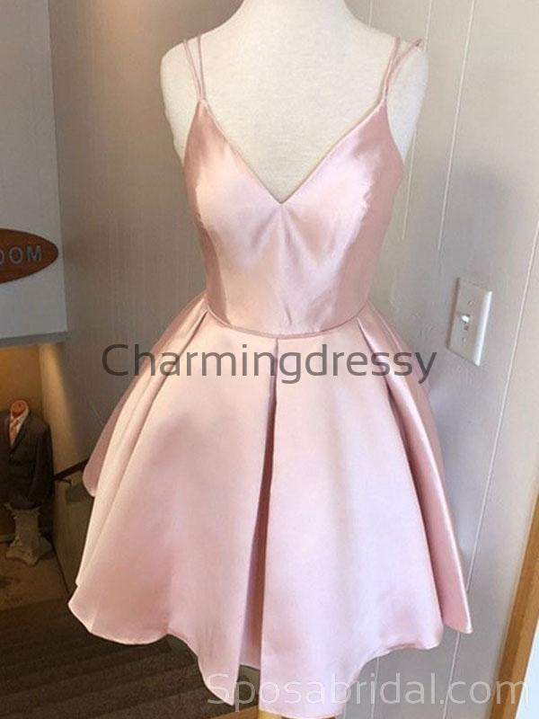 Spaghetti Straps Pink Satin Simple  Popular Short Custom Homecoming Dresses, BD0402