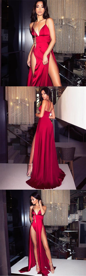Spaghetti  Straps Sexy Sexy Red A-line Simple Cheap Prom Dresses with split, Evening dress, party dress , PD0806