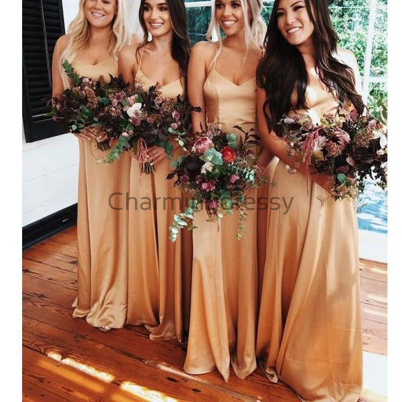 Spaghetti Straps Simple Unique Modest Long Bridesmaid Dresses  WG671