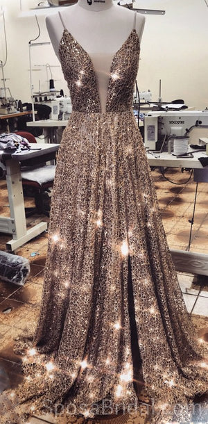 Spaghetti Straps Sparkly Sequin A-line Modest  Formal Elegant Long Prom Dresses, PD1213