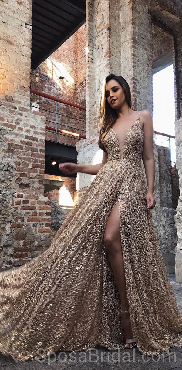 c3cba50a7f7 Spaghetti Straps Sparkly Sequin A-line Modest Formal Elegant Long Prom  Dresses
