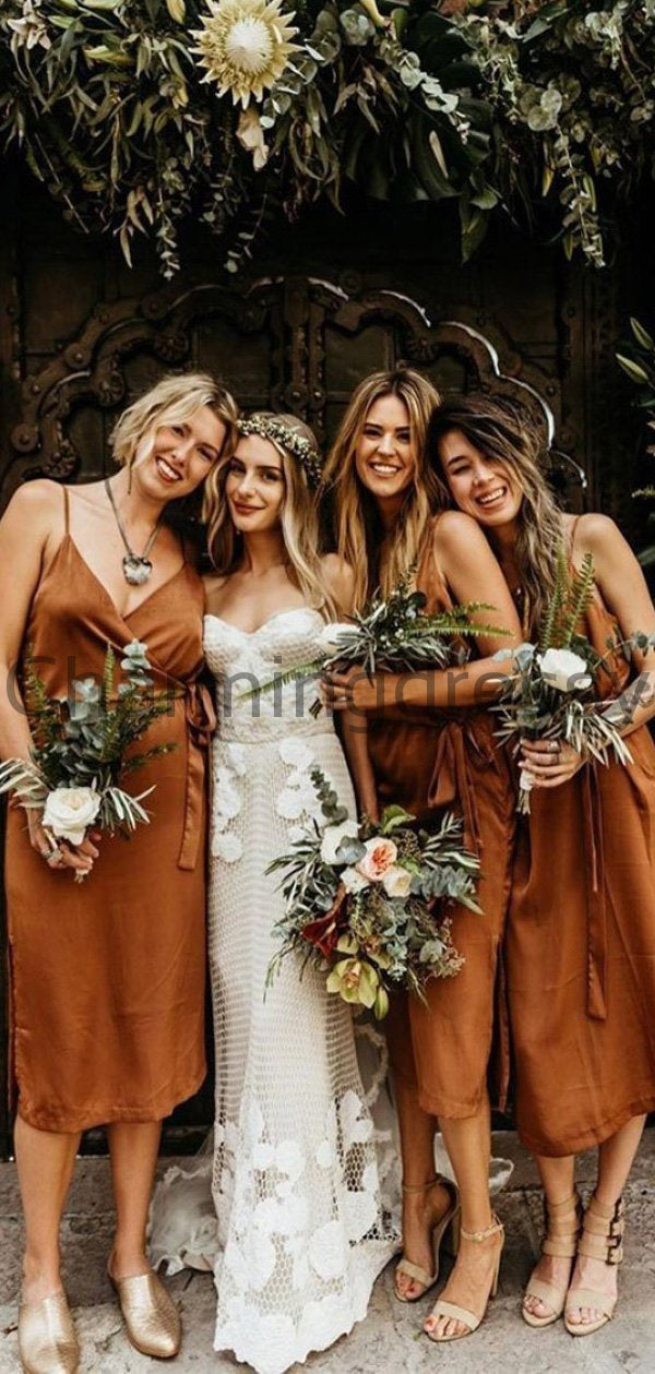 Spaghetti Straps Unique Modest Country Simple Cheap Bridesmaid Dresses WG672