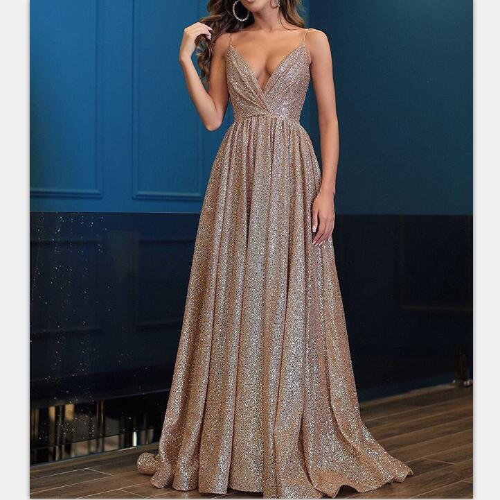 Spaghetti Straps V Neck Fairy Sparkly Sequin Modest Prom Dresses, long evening dress, PD0931