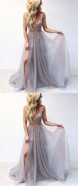 Spaghetti  Straps V Neck Grey Tulle Fairy Prom Dresses, long evening dress, PD0927