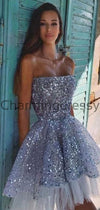 Sparkly A-line Sequin Unique Pretty Short Homecoming Dresses BD0447