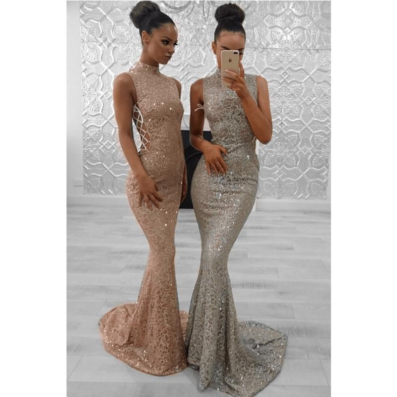 Sparkly High Neck Lace Mermaid Fashion Trend Modest Elegant Formal Long Prom Dressespd1207