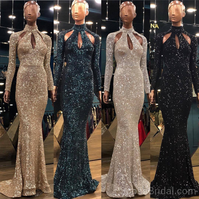 Sparkly Sequin Shinning  Modest Long Sleeves Unique Design Fashion Popular Long Prom Dresses, party queen dress, PD1211