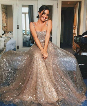Sparkly Sequin Spaghetti Straps Stunning Long Cheap Unique Modest Prom Dresses, PD0829