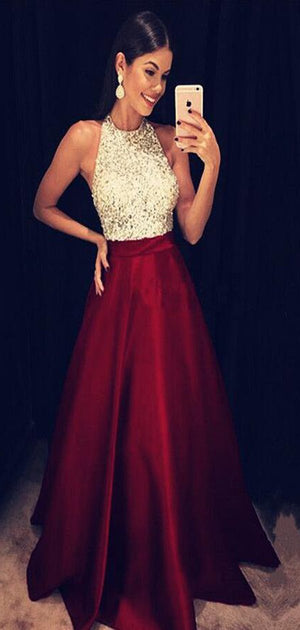 Sparkly Sequins Beaded Halter Long Satin Prom Dresses Burgundy Prom Dresses, Evening Gowns, PD1009