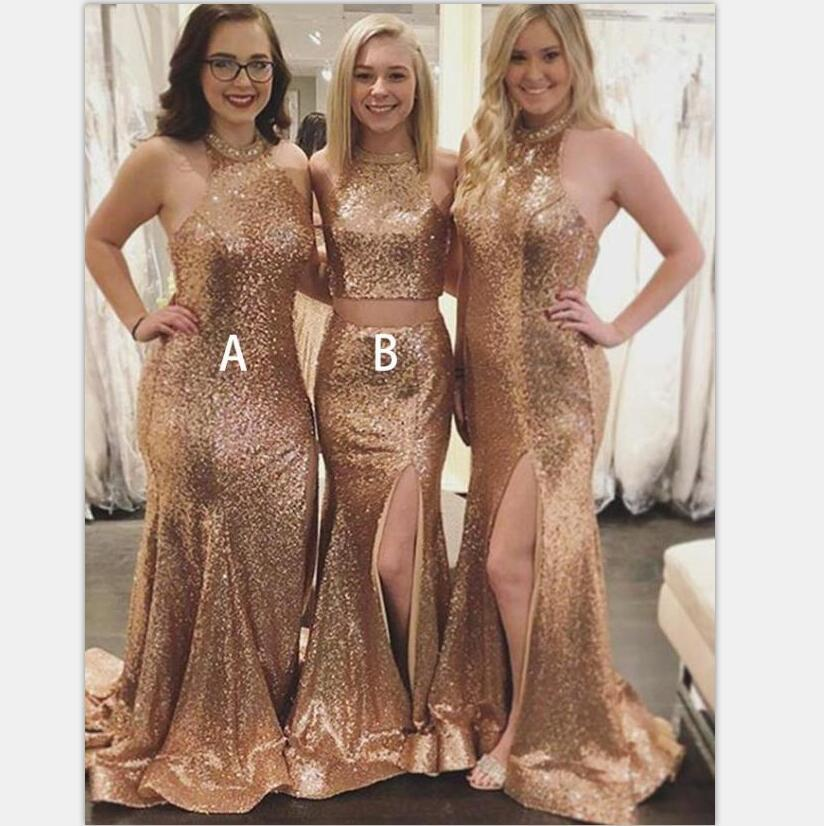 Sparkly Shinning Mermaid Sweep Train Side Split  Champagne Sequined Bridesmaid Dresses ,WG382