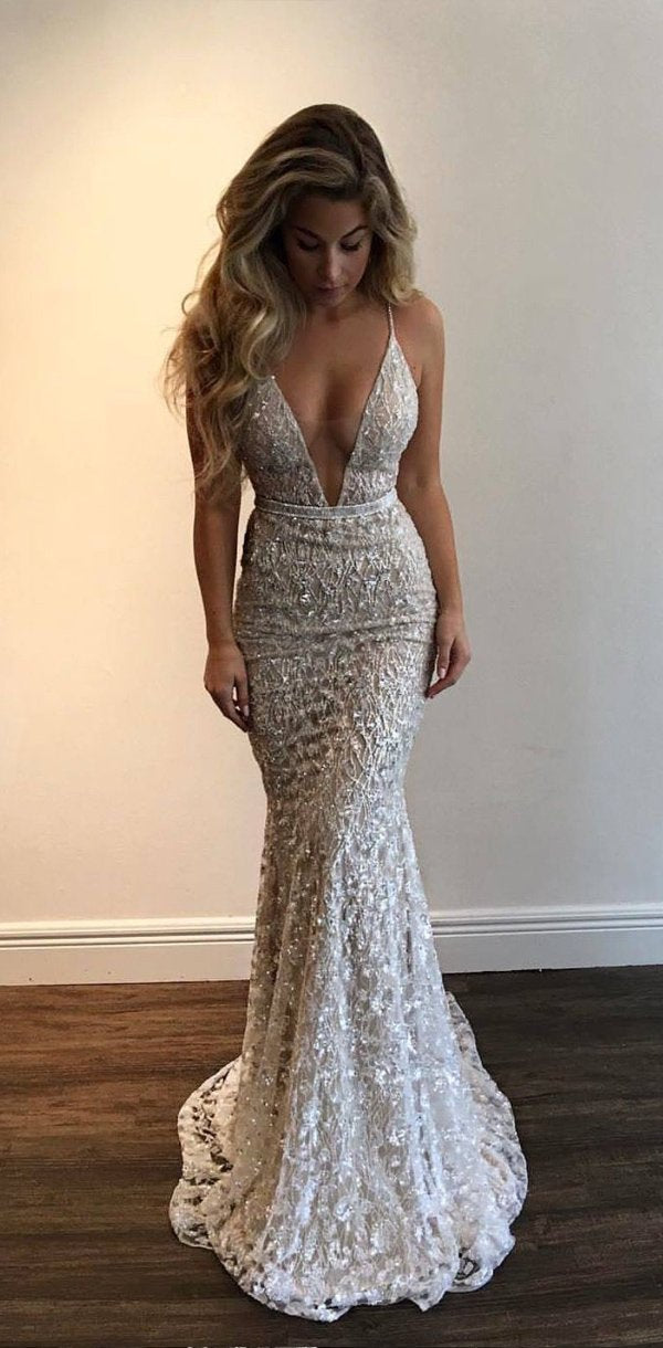 Sparkly Spaghetti Straps Deep V Neck Mermaid Shinning Fashion Prom Dresses 7c8dd487a