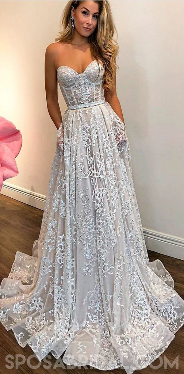 8a32c5fa5ec7a Strapless Long Lace Sweetheart A-line Charming Custom Made Prom Dress