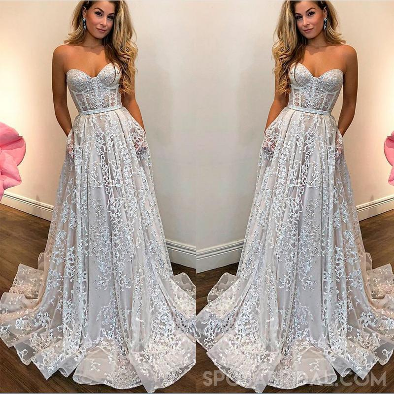 8c55cc70fab Strapless Long Lace Sweetheart A-line Charming Custom Made Prom Dress