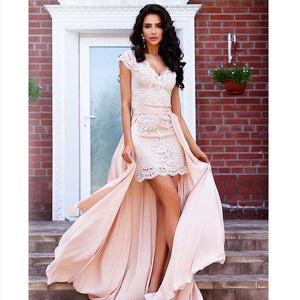 Stunning A-Line Cap Sleeves High Low Short Lace Prom Dresses with Detachable skirt, PD0828