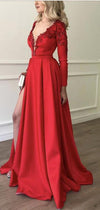 Stylish Embroidery Beaded Long Sleeves Satin Prom Dresses,Evening Dresses, PD1008
