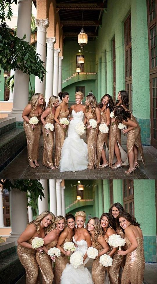 1853d49eb1 Sweetheart Long Bridesmaid Dresses Sequins Bridesmaid Dresses with Side  Slit