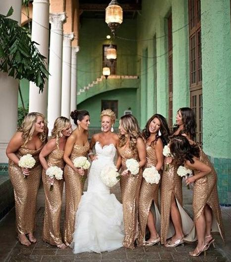 Sweetheart Long Bridesmaid Dresses Sequins Bridesmaid Dresses with Side Slit,WG374