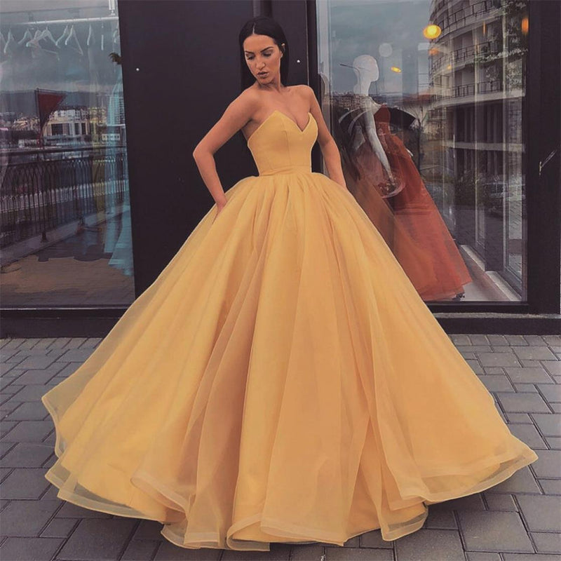 Sweetheart Yellow Long Modest Prom Gwon, Long A-line Fashion Prom dress, PD0874