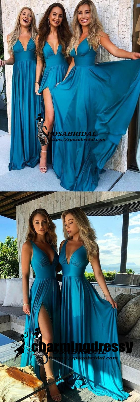 Teal Long Cheap Mismatched  Elegant New Fashion Bridesmaid Dress for wedding guest ,WG297