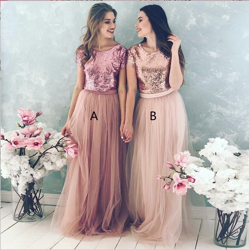 Top Blush Sequin Lovely Hot Sale Two Piece Tulle Round Neck Long Modest Cheap Bridesmaid Dresses, WG277