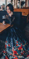 Two Pieces  Black Long Sleeves Pretty Popular floral Graduation Prom Dresses, PD1006