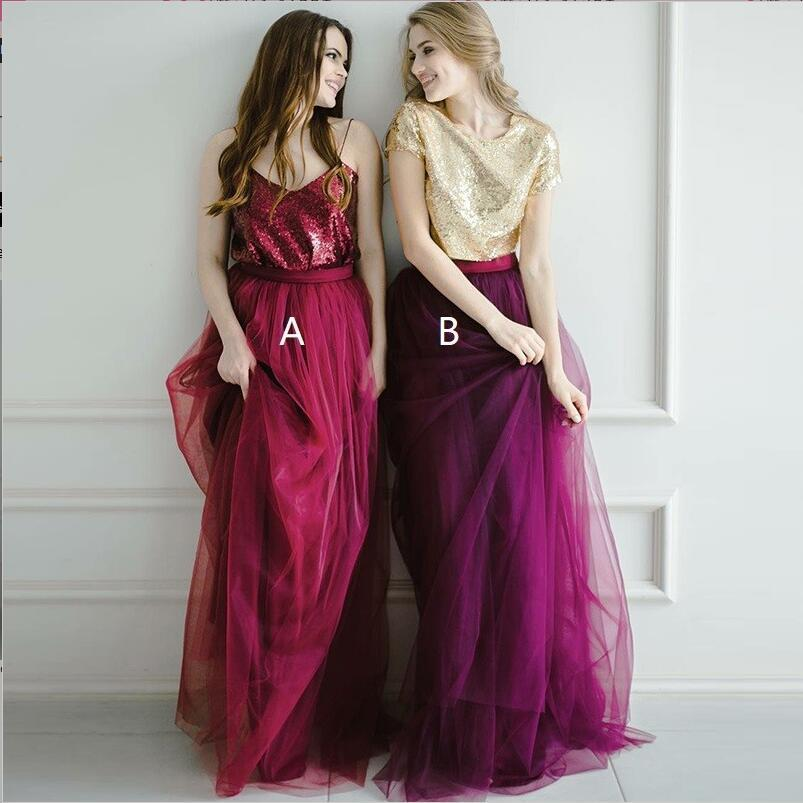 Two Pieces Tulle  Sequin Sparkly Pretty Young Spaghetti Straps Dark Red Gold Burgundy Bridesmaid Dresses, WG276