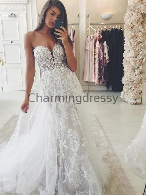 Unique Sweetheart Elegant Vintage Country Long Wedding Dresses WD0462
