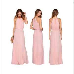 Unique Chiffon Cheap Long Colorful Pink Black Simple Boho Bridesmaid Dresses,WG375