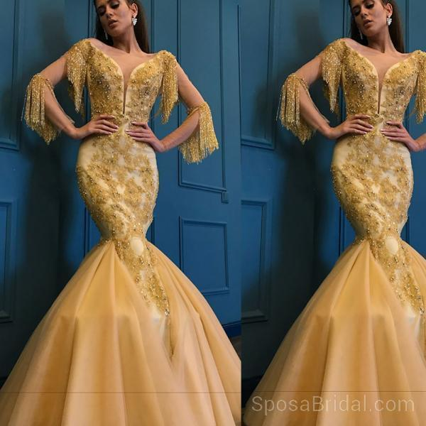 Unique Design Yellow Gold  Modest Fashion Newest Long Prom Dresses, Party Queen Dresses, PD1212