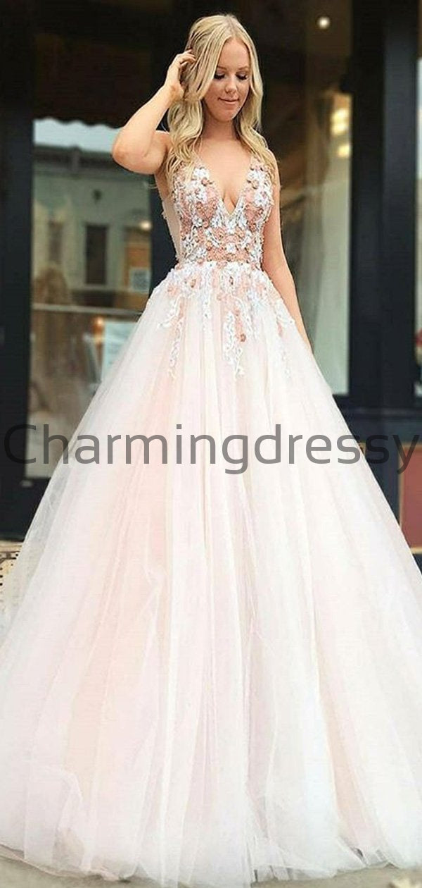 V-Neck Appliques Pink Tulle Long Formal Prom Dresses PD2179
