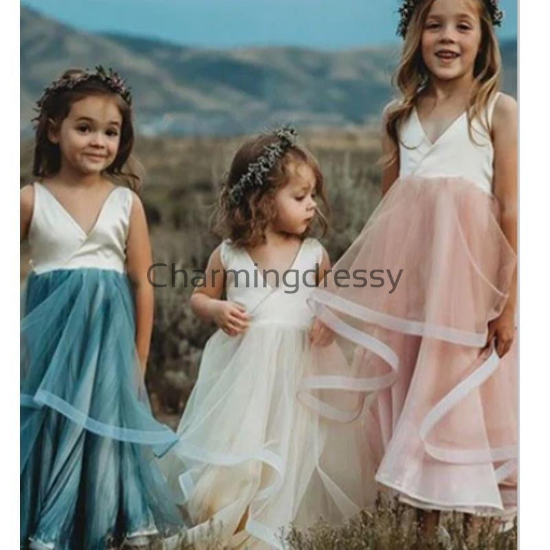 V-Neck Simple Cheap Lovely Custom Flower Girl Dresses, FG130