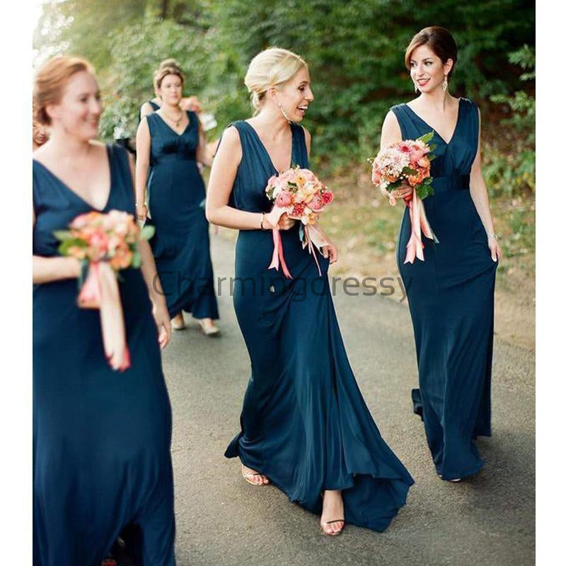 V-Neck Long Elegant Simple Cheap Bridesmaid Dresses WG674