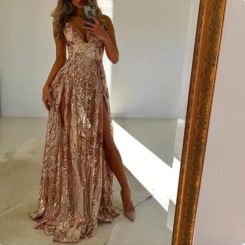 V-Neck Long Sparkly Shinning  Formal Sexy  Prom Dresses, Party dress, evening dresses, PD1075