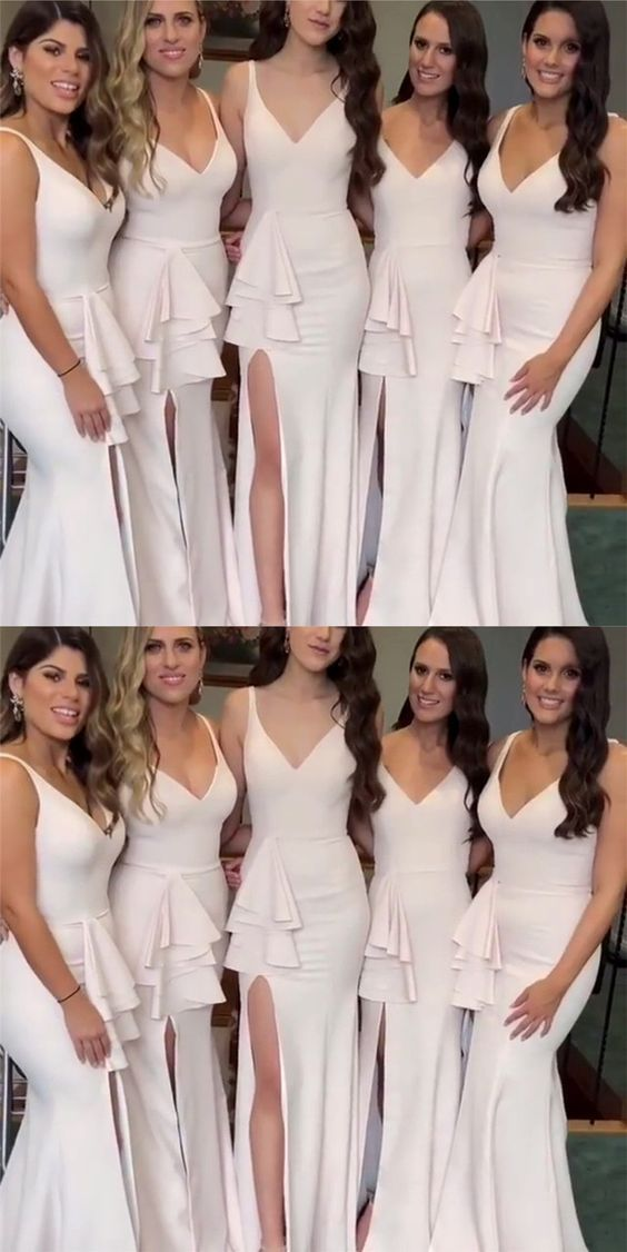 V-Neck Long Special Design New Mermaid Cheap Bridesmaid Dresses, wedding guest dress,WG367