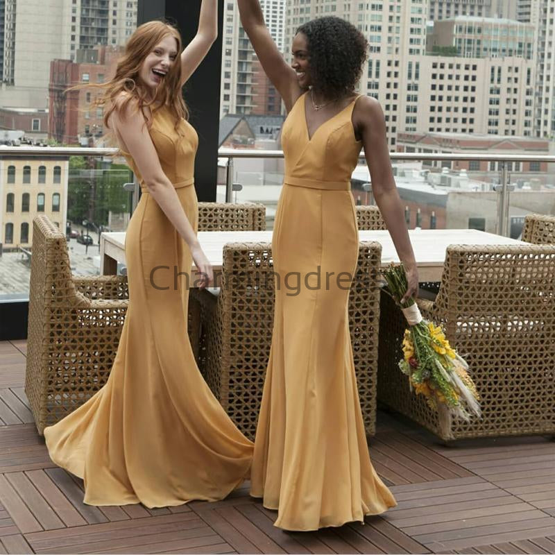V-Neck Yellow Gold Mermaid Simple Elegant Bridesmaid Dresses WG676