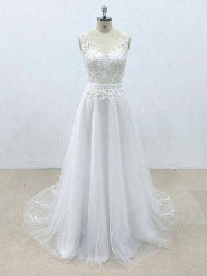 Simple V Neck Tulle Skirt Lace A-line Wedding Dresses Online, WD394