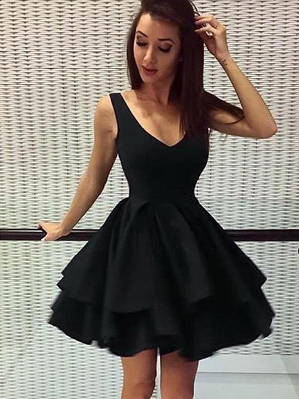 Cheap Short Simple V Neck Black Homecoming Dresses Online, CM531