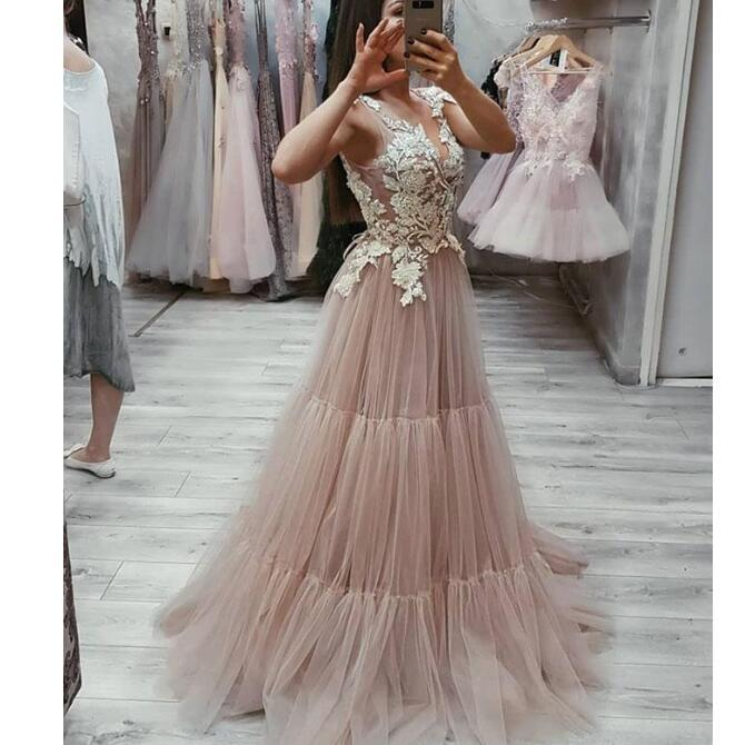 V Neck Tulle Lace Appliques Long Beautiful Fairy Prom Dresses, party queen dress, PD0926