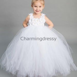 White Tulle Cute Cheap Lovely Custom Flower Girl Dresses ,FG131