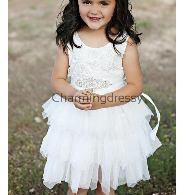 White Tulle Cute Lace Unique Lovely Custom Flower Girl Dresses, FG132