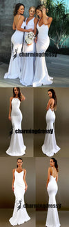 White Mismatched  Long Sexy Elegant Most Popular Cheap Modest Bridesmaid Dresses online  ,WG298