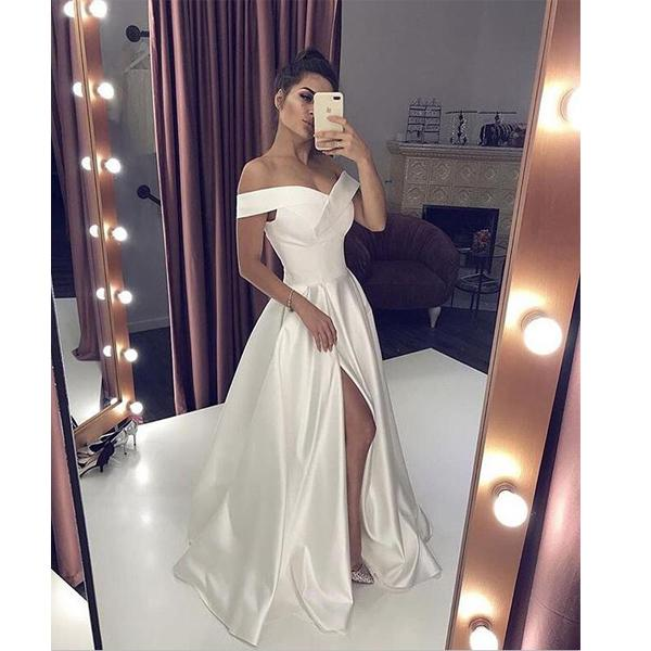 White Simple Satin A-line Prom Dresses, Fashion Modest Elegant Evening Dresses,PD1049
