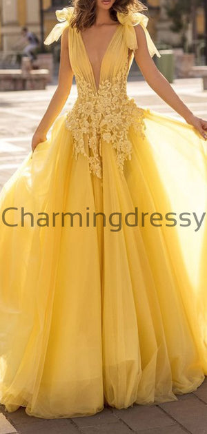 Yellow A-line Pretty Tulle Modest Long Prom Dresses PD2252