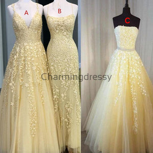 Yellow Lace Long Elegant Formal Popular Prom Dresses PD2141