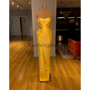 Yellow Satin Meramid Unique Formal Elegant Prom Dresses PD2253