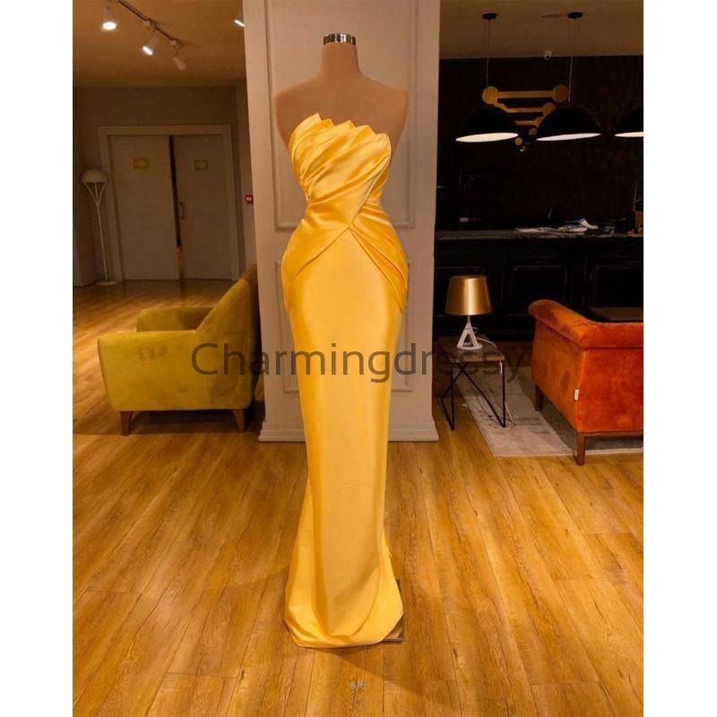 Yellow Satin Mermaid Long Unique Formal Elegant Prom Dresses PD2254